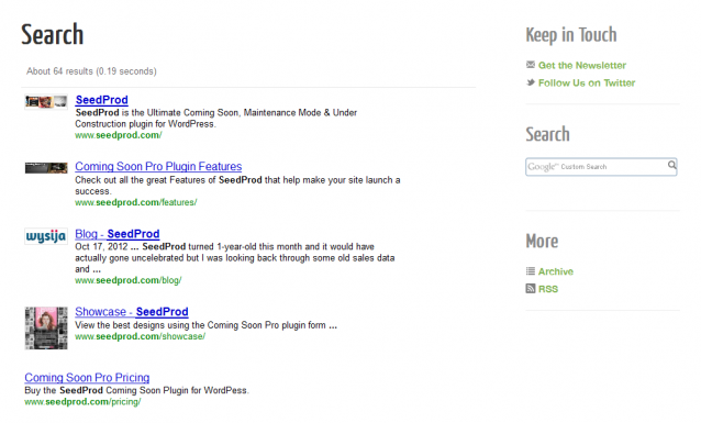 Easily add Google custom search in WordPress