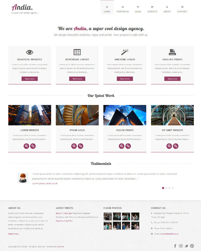 Andia Bootstrap Theme